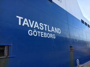 Bordwand der MS Tavastland